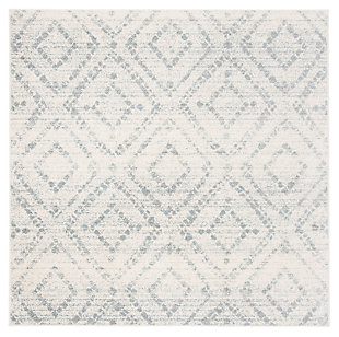 Power Loomed 6' x 6' Square Rug, White/Blue, large