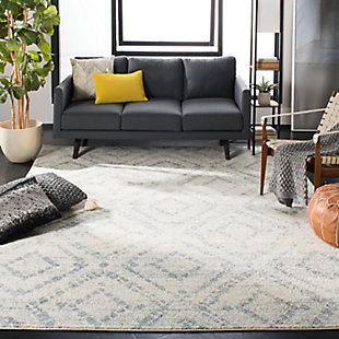 Power Loomed 6' x 6' Square Rug, White/Blue, rollover