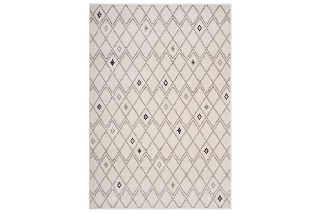 "Power Loomed 5'1"" x 7'6"" Area Rug, Gray/White, large"