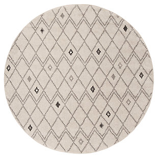 Power Loomed 6' x 6' Round Rug, Gray/Yellow, large