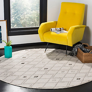 Power Loomed 6' x 6' Round Rug, Gray/Yellow, rollover