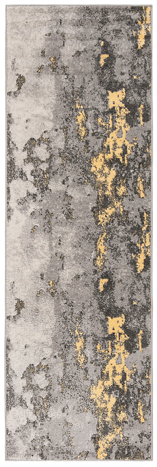 "Over Dye 2'6"" x 8' Runner Rug, Gray/Yellow, large"