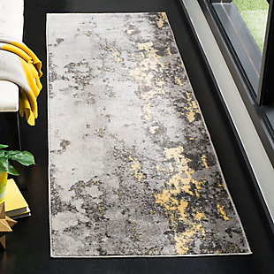 "Over Dye 2'6"" x 8' Runner Rug, Gray/Yellow, rollover"