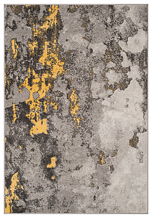 Over Dye 4' x 6' Area Rug, Gray/Yellow, large
