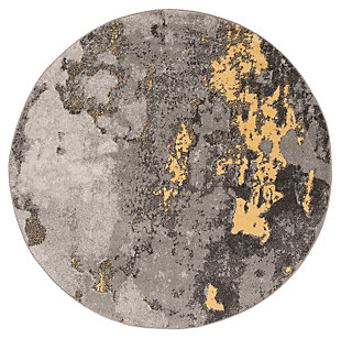 Over Dye 6' x 6' Round Rug, Gray/Yellow, large
