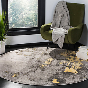 Over Dye 6' x 6' Round Rug, Gray/Yellow, rollover