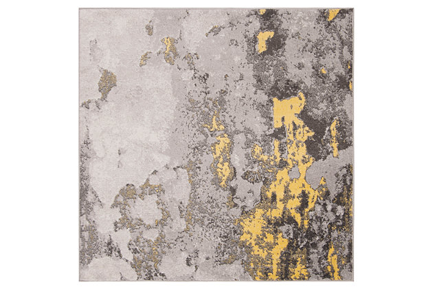 Over Dye 6' x 6' Square Rug, Gray/Yellow, large