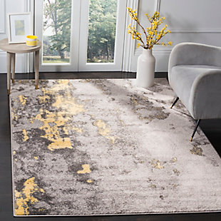 Over Dye 6' x 6' Square Rug, Gray/Yellow, rollover