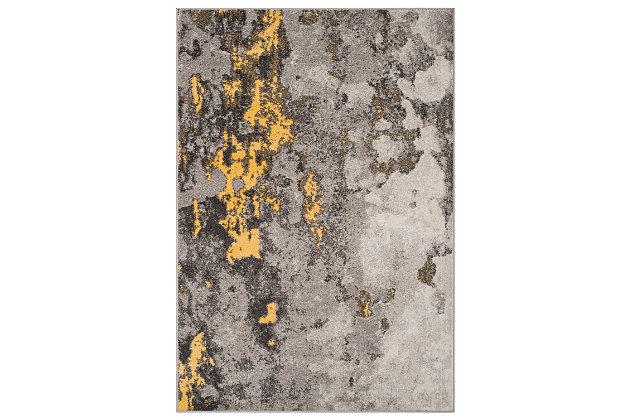 Over Dye 8' x 10' Area Rug, Gray/Yellow, large