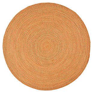 Reversible 6' x 6' Round Rug, Brown, large