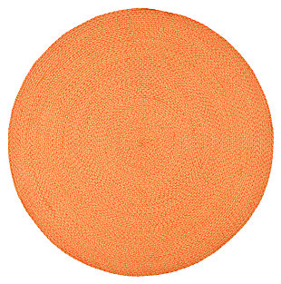 Reversible 6' x 6' Round Rug, Brown, large