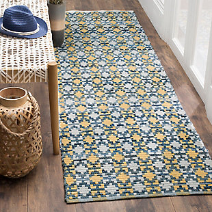 """Hand Crafted 2'3"""" x 8' Runner Rug, Yellow/White, rollover"""