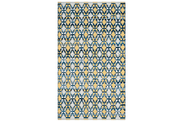 Hand Crafted 3' x 5' Doormat, Yellow/White, large
