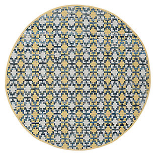Hand Crafted 4' x 4' Round Rug, Yellow/White, large