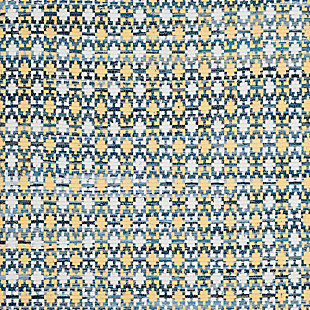 Hand Crafted 4' x 4' Square Rug, Yellow/White, large