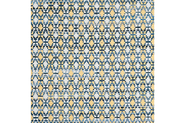 Hand Crafted 5' x 8' Area Rug, Yellow/White, large