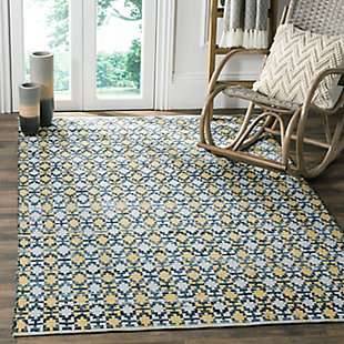 Hand Crafted 5' x 8' Area Rug, Yellow/White, rollover