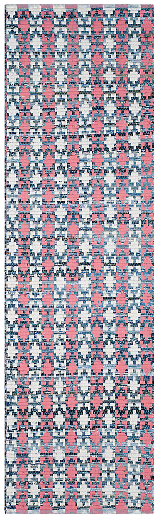 "Hand Crafted 2'3"" x 8' Runner Rug, Blue/Red, large"