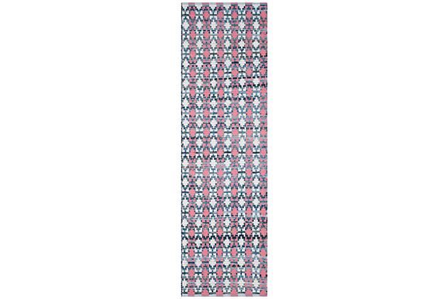 """Hand Crafted 2'3"""" x 8' Runner Rug, Blue/Red, large"""