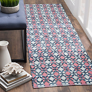 """Hand Crafted 2'3"""" x 8' Runner Rug, Blue/Red, rollover"""