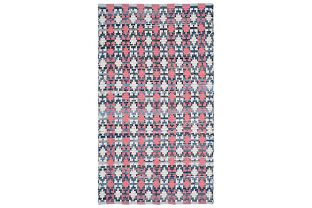 Hand Crafted 3' x 5' Area Rug, Blue/Red, large