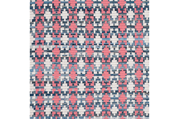 Hand Crafted 4' x 6' Area Rug, Blue/Red, large