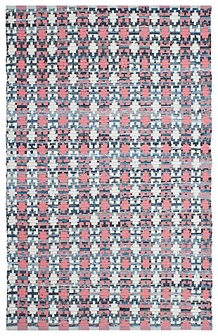 Hand Crafted 6' x 9' Area Rug, Blue/Red, rollover