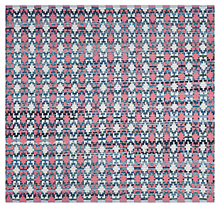 Hand Crafted 6' x 6' Square Rug, Blue/Red, rollover