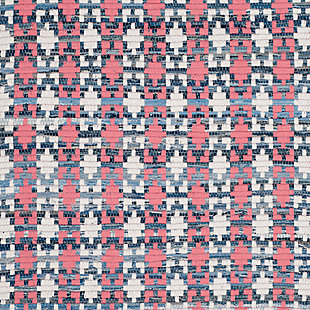 Hand Crafted 6' x 6' Square Rug, Blue/Red, large