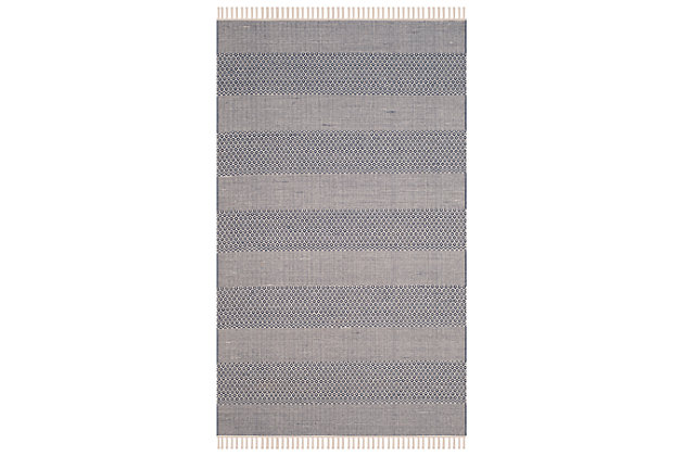 Accessory 5' x 8' Area Rug, White/Blue, large