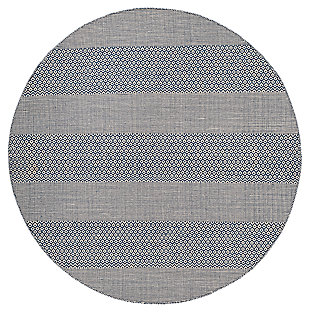 Accessory 6' x 6' Round Rug, White/Blue, large