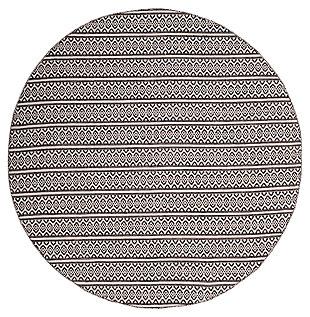 Accessory 4' x 4' Round Rug, Black/White, large