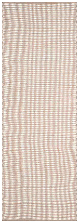 "Hand Crafted 2'3"" x 8' Runner Rug, Gray/White, large"