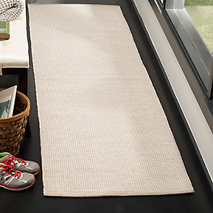 "Hand Crafted 2'3"" x 8' Runner Rug, Gray/White, rollover"
