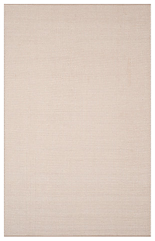 Hand Crafted 5' x 8' Area Rug, Gray/White, large