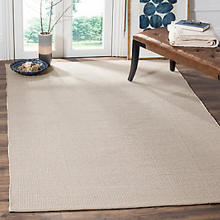 Hand Crafted 5' x 8' Area Rug, Gray/White, rollover