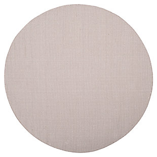 Hand Crafted 6' x 6' Round Rug, Gray/White, large