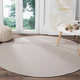 Hand Crafted 6' x 6' Round Rug, Gray/White, rollover