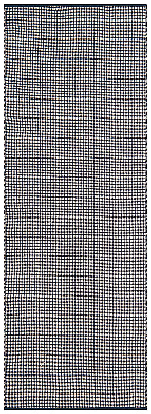 "Hand Crafted 2'3"" x 8' Runner Rug, White/Blue, large"