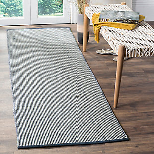"Hand Crafted 2'3"" x 6 Runner Rug, White/Blue, rollover"