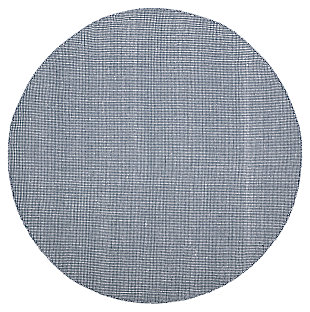 Hand Crafted 4' x 4' Round Rug, White/Blue, large