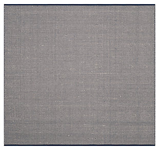 Hand Crafted 4' x 4' Square Rug, White/Blue, large