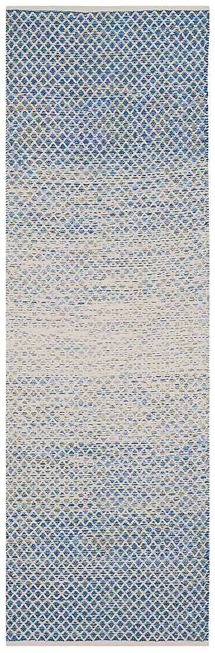 "Ombre 2'3"" x 7' Runner Rug, White/Blue, large"