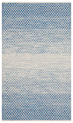 Ombre 3' x 5' Area Rug, White/Blue, large