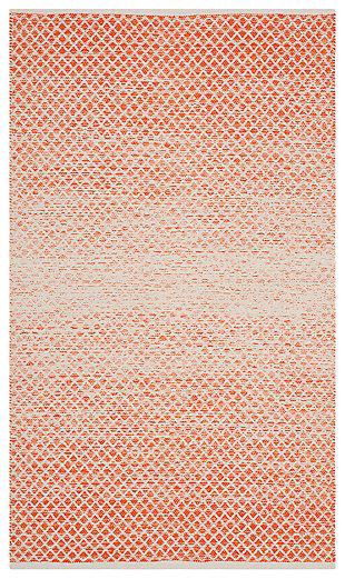 Ombre 3' x 5' Doormat, Orange/White, large