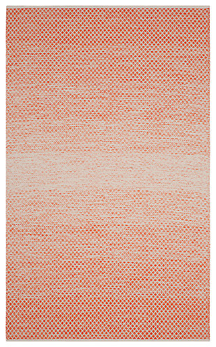 Ombre 5' x 8' Area Rug, Orange/White, large