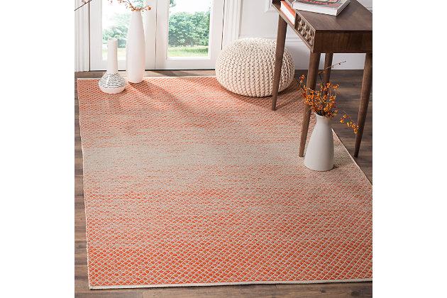 Ombre 5' x 8' Area Rug, Orange/White, large