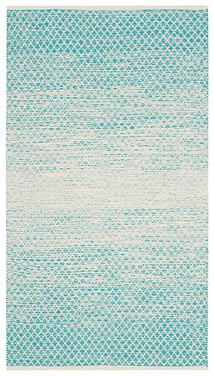 Ombre 3' x 5' Doormat, White/Blue, large