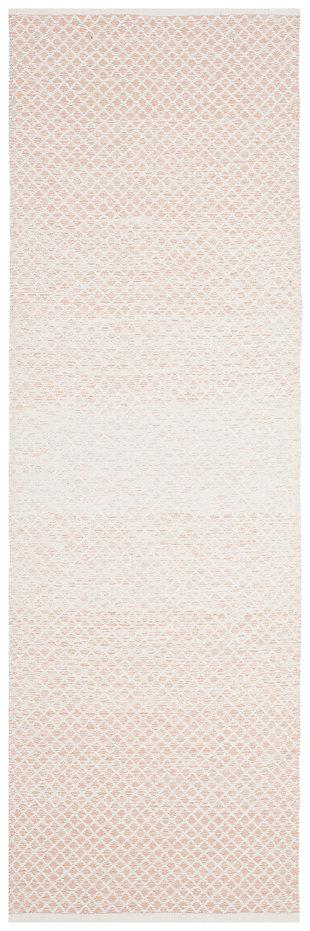 "Flat Weave 2'3"" x 7' Runner Rug, Beige/White, large"