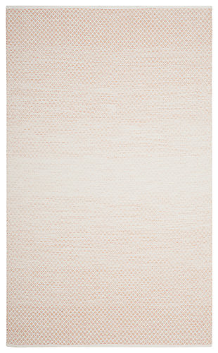 Flat Weave 6' x 9' Area Rug, Beige/White, large